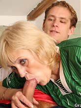 The sensual and super hot grandma has good sex with the tempting younger and horny men