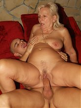 Blonde mature Remy gets naked and takes in a pulsating dick in her mouth and experienced pussy