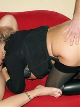 Pretty mature wife Christina shares a cock with a pretty young lady named Silvia